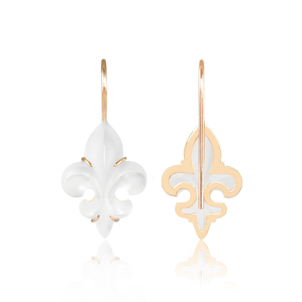 Mini Frosted Fleur des Lys Earrings back view by McFarlane Fine Jewellery
