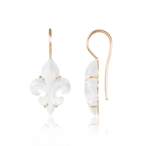 Mini Frosted Fleur des Lys Earrings side view by McFarlane Fine Jewellery