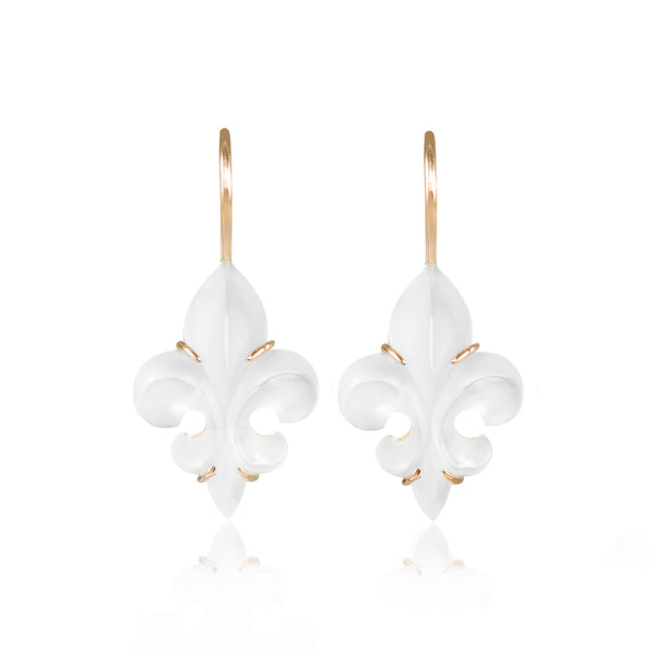 Mini Frosted Fleur des Lys Earrings by McFarlane Fine Jewellery