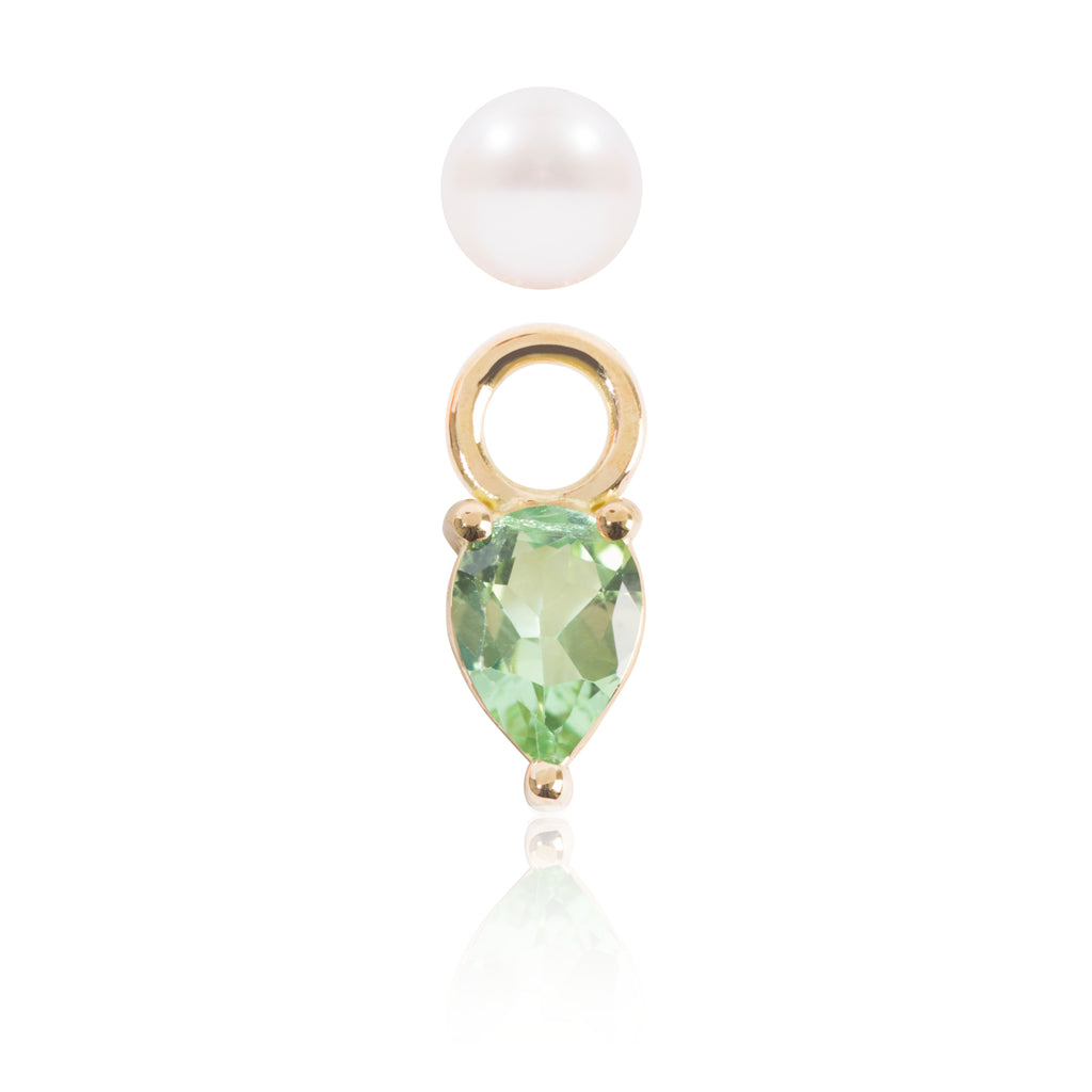 Mini Pearl and Light Green Tourmaline Earring with Pendant Detached by McFarlane Fine Jewellery