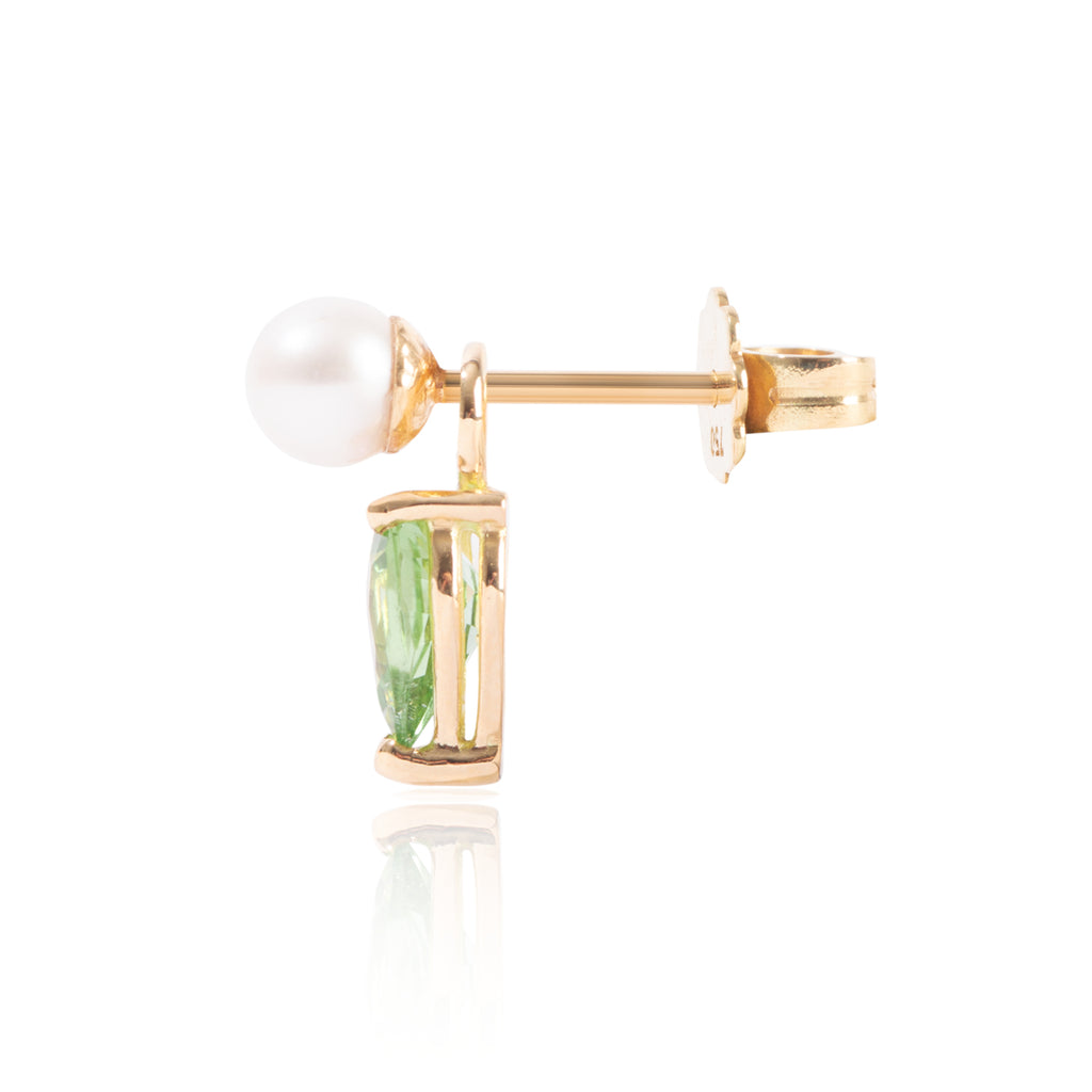 Mini Pearl and Light Green Tourmaline Earring Pendant Side View by McFarlane Fine Jewellery
