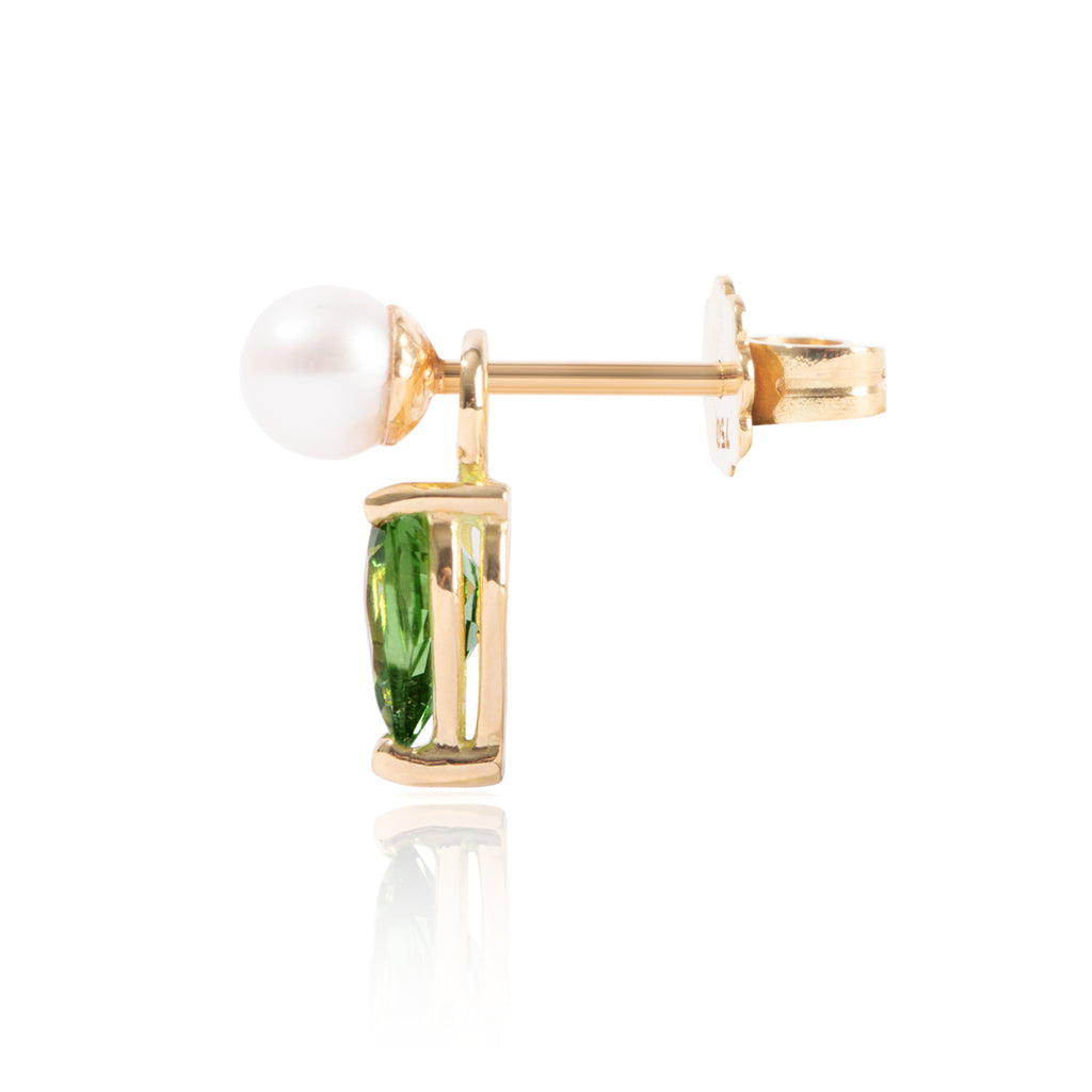 Mini Pearl & Tsavorite Earring Pendant Side View by McFarlane Fine Jewellery