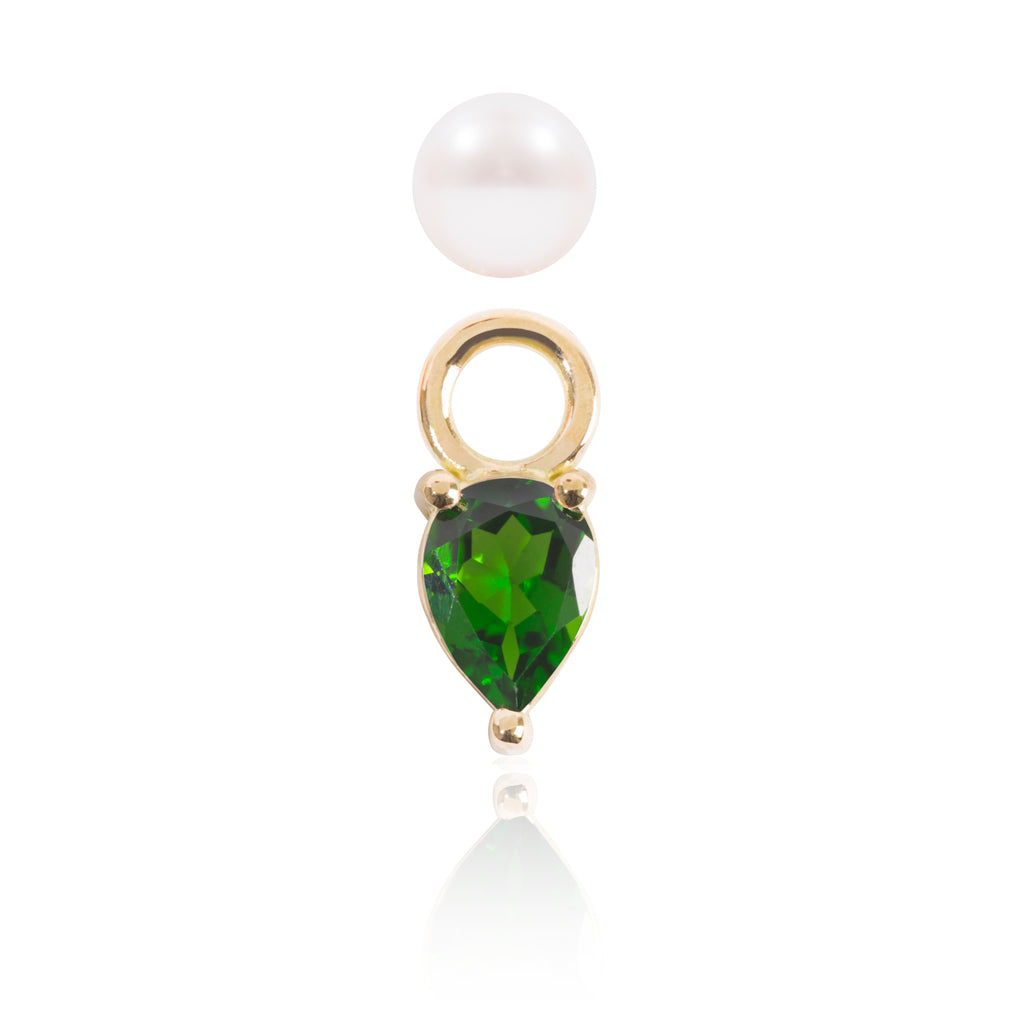 Mini Pearl and Tsavorite Earring Pendant Detached by McFarlane Fine Jewellery
