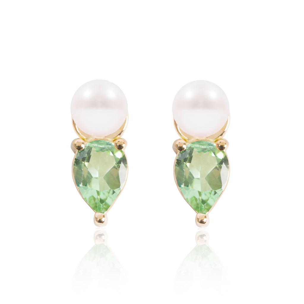 Mini Pearl and Bright Green Tourmaline Earring Pendants by McFarlane Fine Jewellery