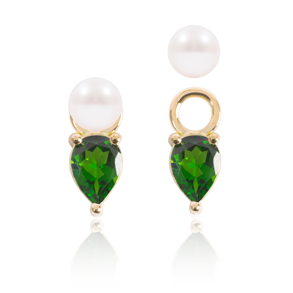Mini Pearl and Tsavorite Earring Pendants with one detached by McFarlane Fine Jewellery