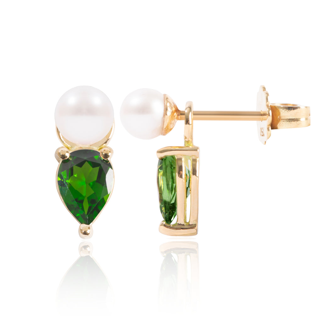 Mini Pearl and Tsavorite Earring Pendants Side View by McFarlane Fine Jewellery