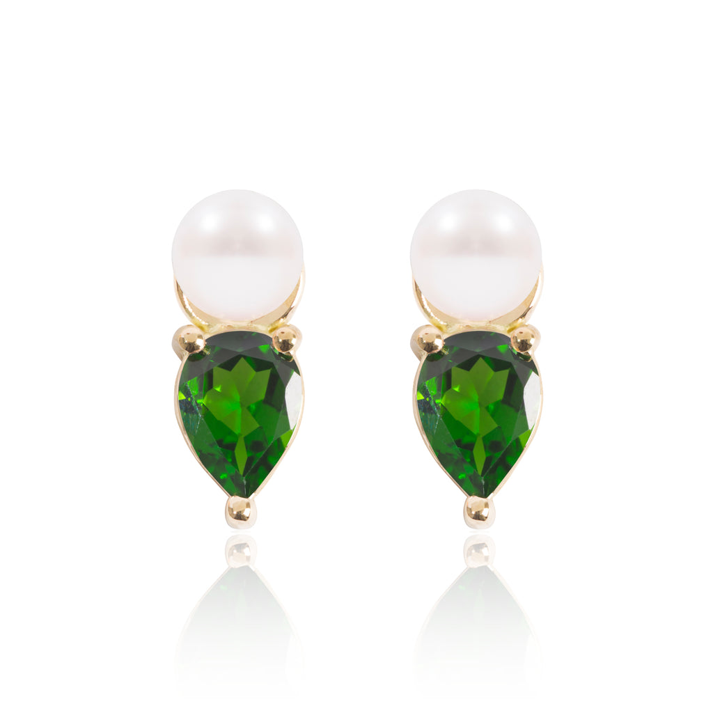 Mini Pearl and Tsavorite Earring Pendants by McFarlane Fine Jewellery