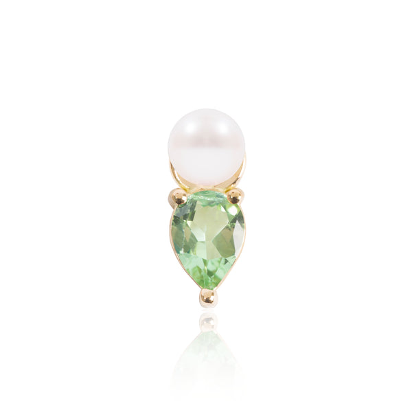 Mini Pearl and Light Green Tourmaline Earring Pendant by McFarlane Fine Jewellery