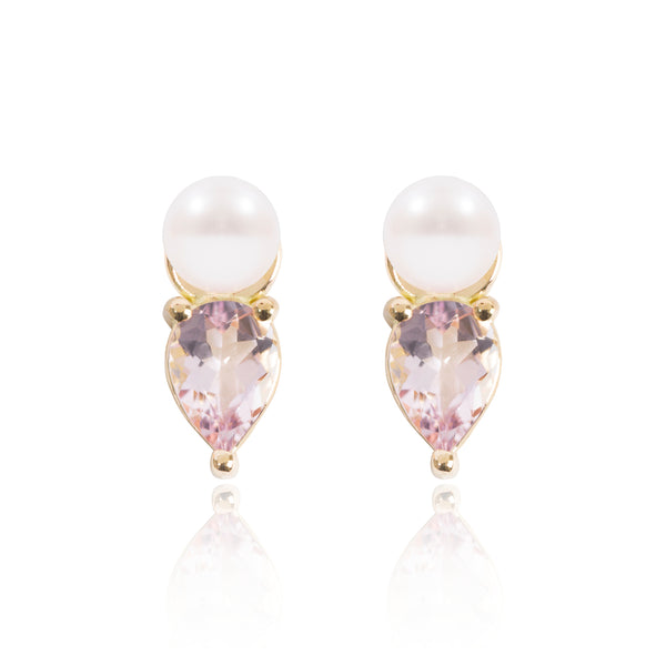 Mini Pearl & Light Pink Morganite Earring Pendants by McFarlane Fine Jewellery