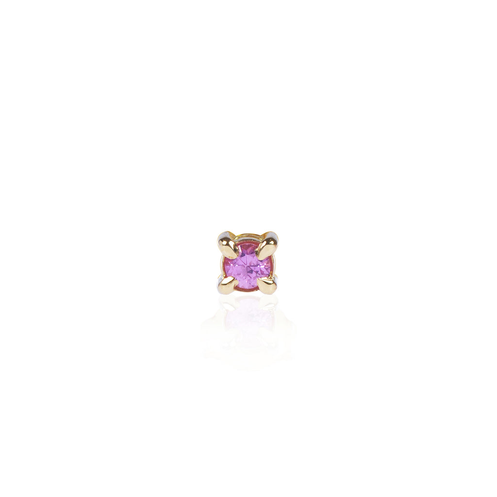 Pink Sapphire Stud Front View in 18ct yellow gold by Love Is