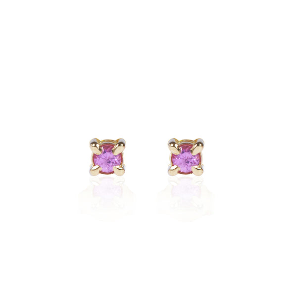 Pink Sapphire Studs in 18ct yellow gold by McFarlane Fine Jewellery