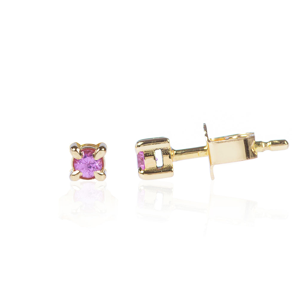 Pink Sapphire Studs in 18ct yellow gold side view by McFarlane Fine Jewellery