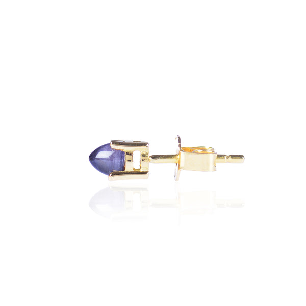 Pointy Blue Iolite Stud Side View in 18ct yellow gold by McFarlane Fine Jewellery