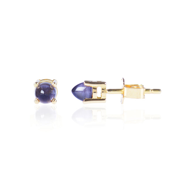 Pointy Blue Iolite Studs Side View in 18ct yellow gold by Love Is