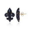 Polished Black Onyx Fleur des Lys Earrings by Love Is Side View