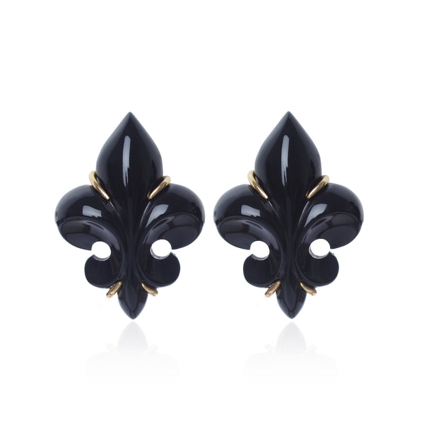 Polished Black Onyx Fleur des Lys Earrings by McFarlane Fine Jewellery