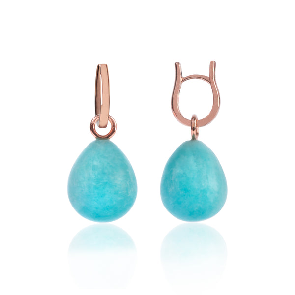 Rose Gold and Amazonite Pendant Earrings side view by McFarlane Fine Jewellery