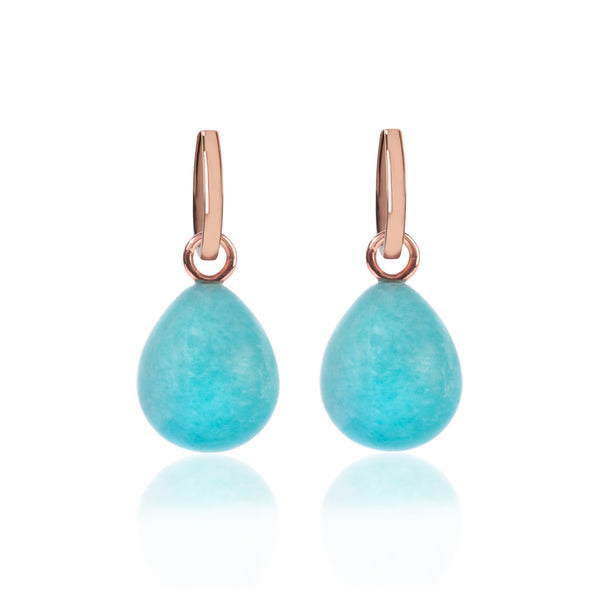 Rose Gold and Amazonite Pendant Earrings by McFarlane Fine Jewellery