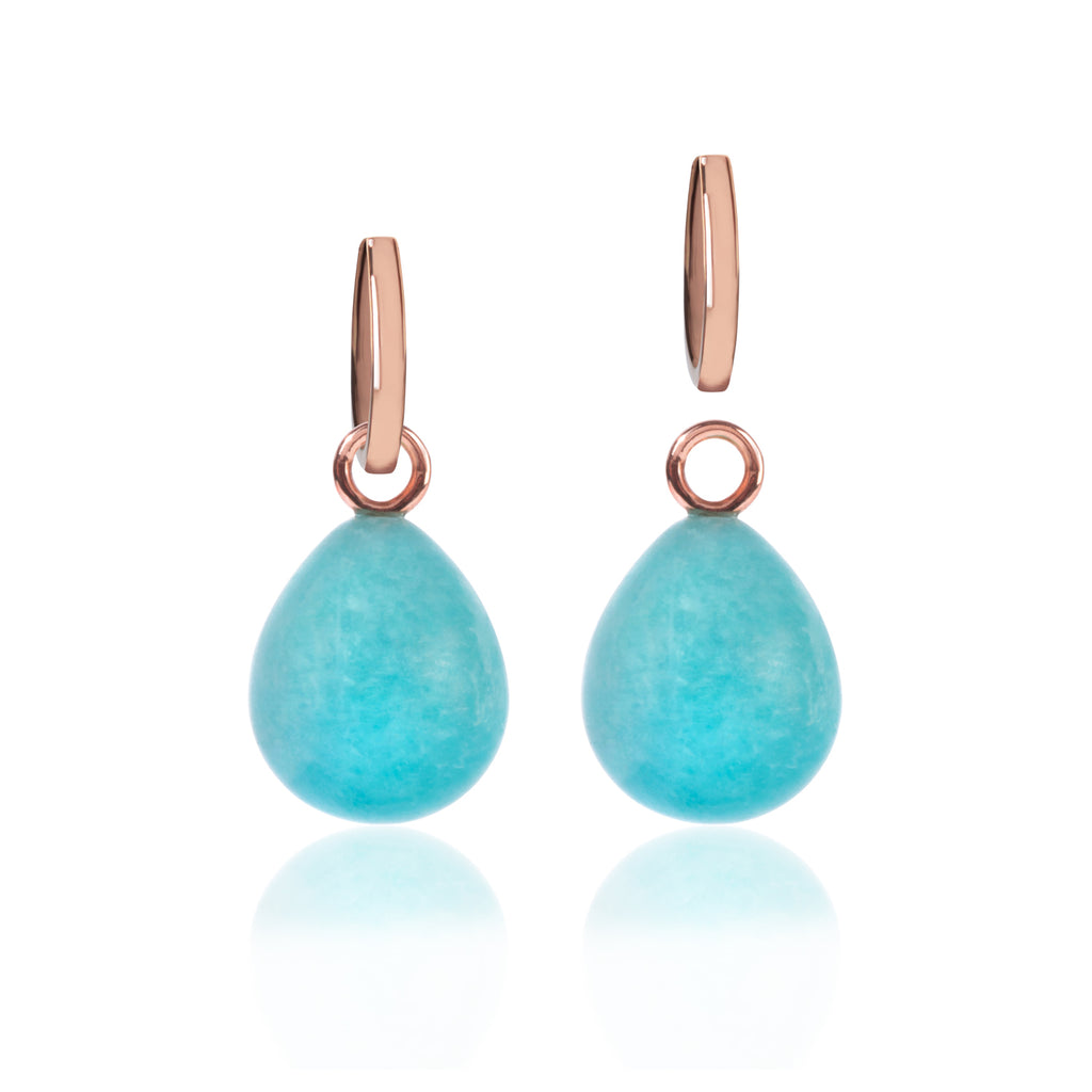 Rose Gold and Amazonite Pendant Earrings with detached pendant by McFarlane Fine Jewellery