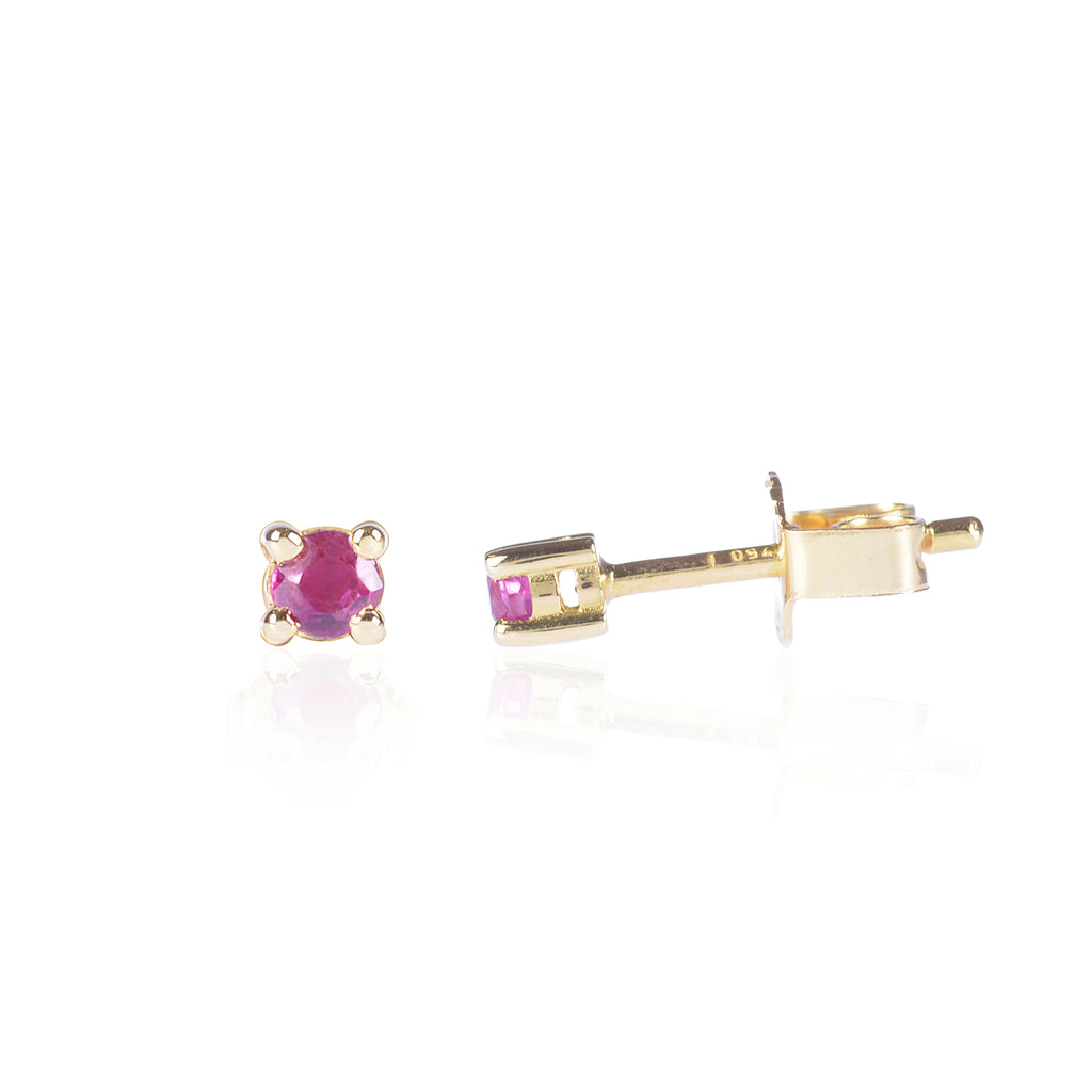 Ruby Studs in 18ct yellow gold by Love Is Side View
