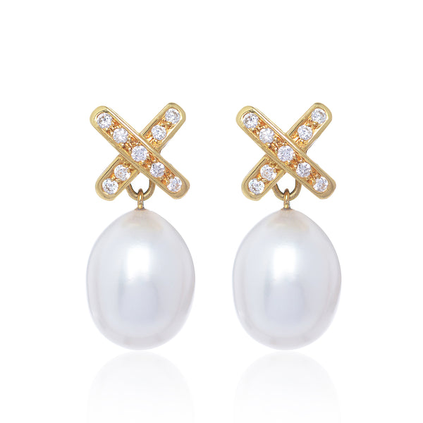 Simple Diamond Cross Pearl Earrings by McFarlane Fine Jewellery in 18ct yellow gold with detachable diamond cross stud