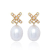 Simple Diamond Cross Pearl Earrings by Love Is in 18ct yellow gold with detachable diamond cross stud