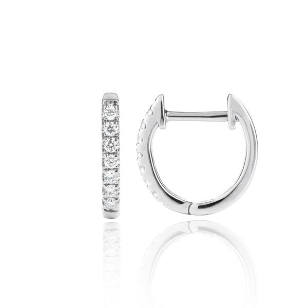 White Gold Diamond Huggies Medium side view by McFarlane Fine Jewellery