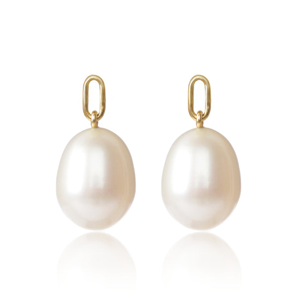 18ct yellow gold White Cultured Pearl Earring Pendants by McFarlane Fine Jewellery