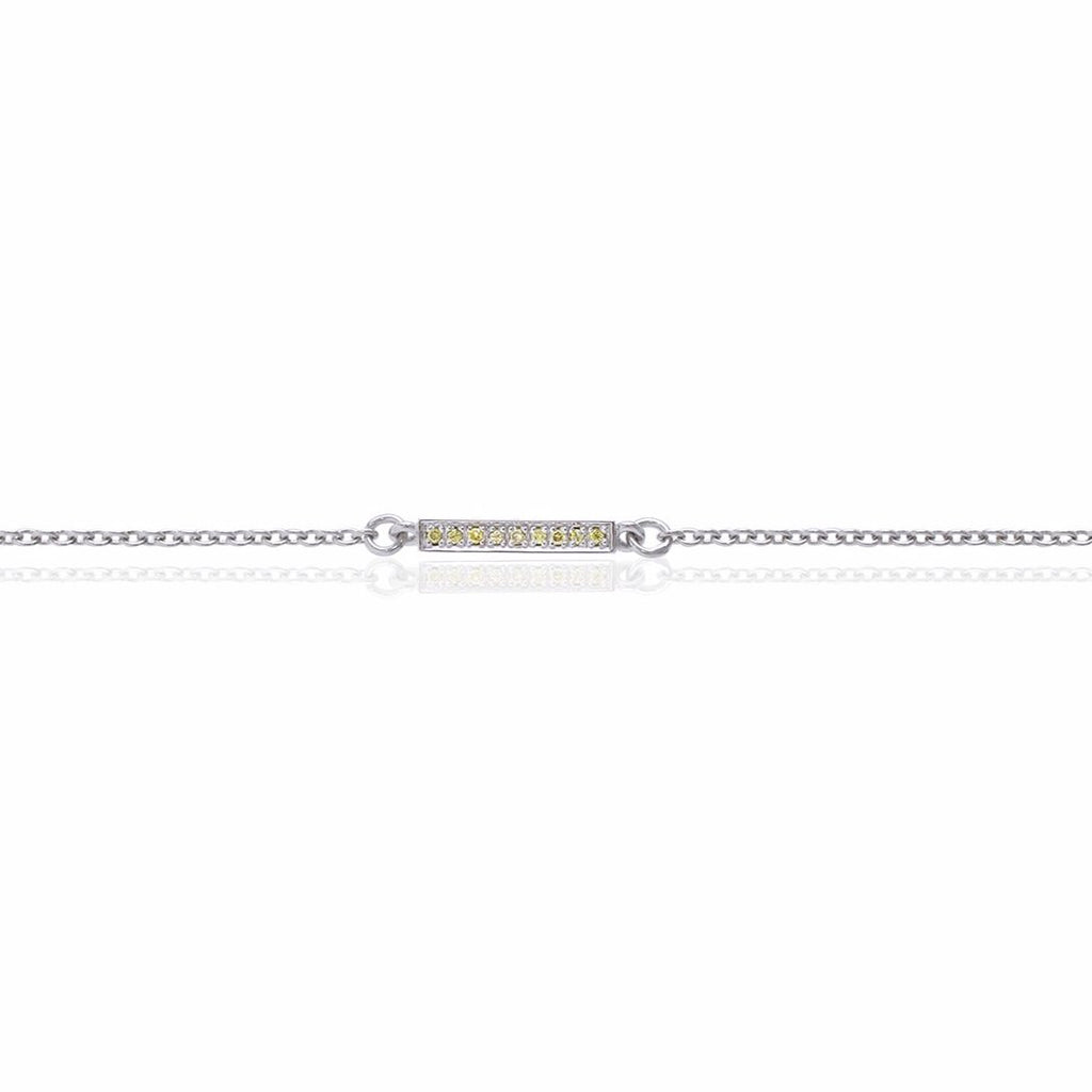 18ct White Gold Diamond Bar Bracelet with Natural Yellow Diamonds Close Up
