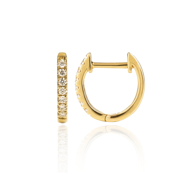 Yellow Gold Diamond Huggies Medium Side View by McFarlane Fine Jewellery