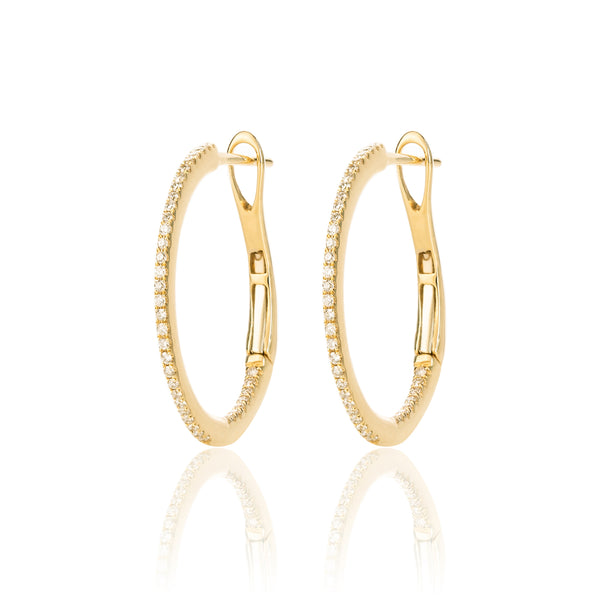 18ct Yellow Gold Diamond Encrusted Hoop Earrings by McFarlane Fine Jewellery