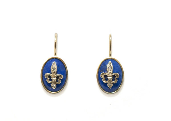 Blue Fleur de Lys Earrings