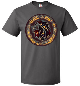 grey unisex shirt with lion head and in God we trust