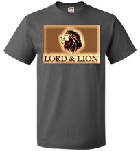 Load image into Gallery viewer, grey unisex t-shirt with gold lion head