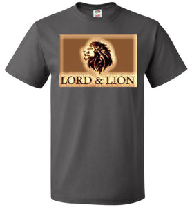 grey unisex t-shirt with gold lion head