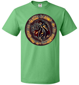green unisex shirt with lion head and in God we trust