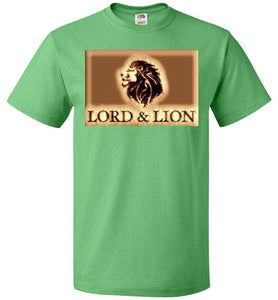 green unisex t-shirt with gold lion head