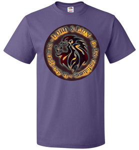purple unisex shirt with lion head and in God we trust