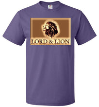 Load image into Gallery viewer, purple unisex t-shirt with gold lion head