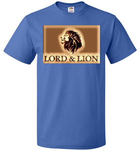 blue unisex t-shirt with gold lion head
