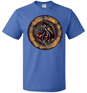 blue unisex shirt with lion head and in God we trust