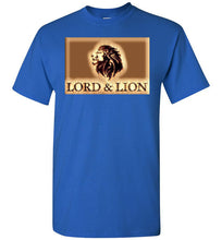 Load image into Gallery viewer, blue t-shirt with gold lion head