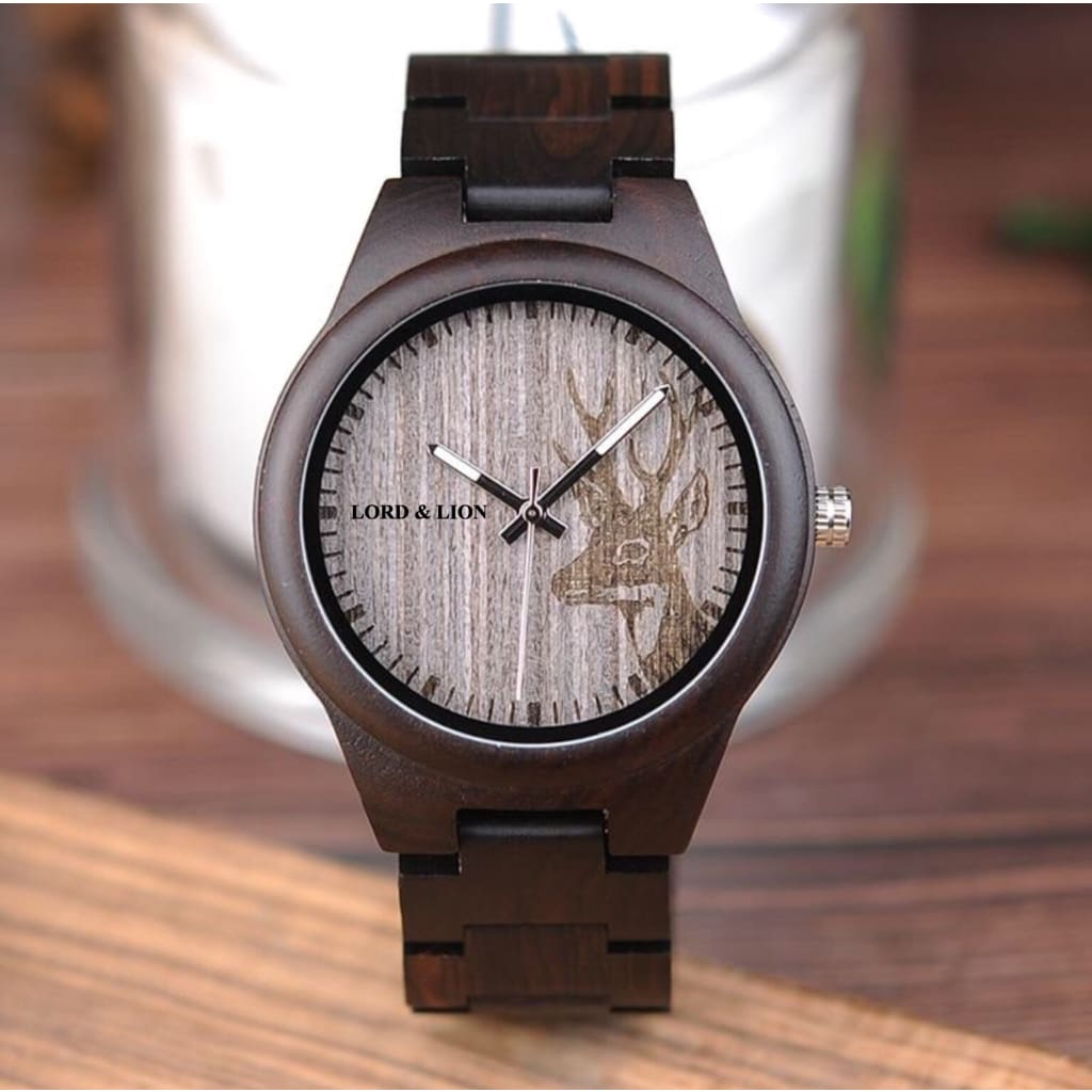 walnut wood watch with deer on the face