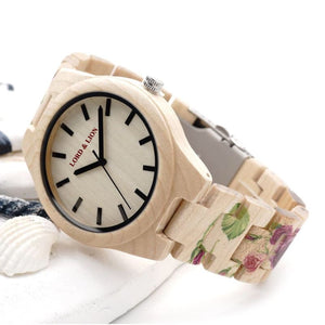 womens wood watch with roses printed on it