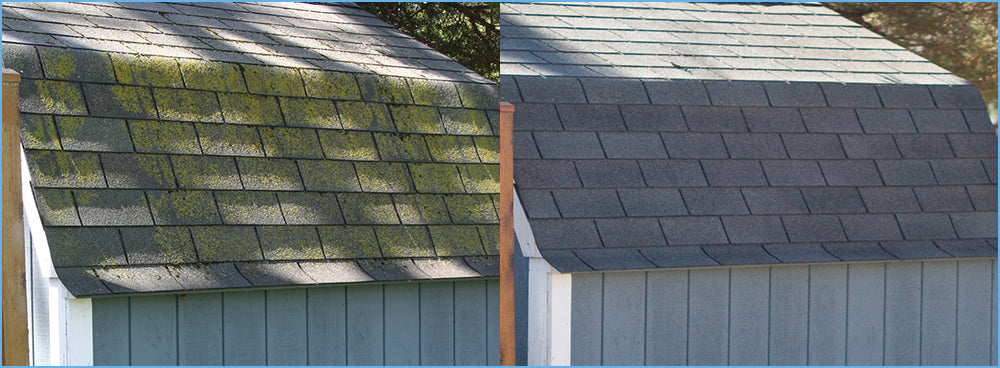 Asphalt Roof Shingles Can Best Be Cleaned by Rapid Application, made by Wet and Forget