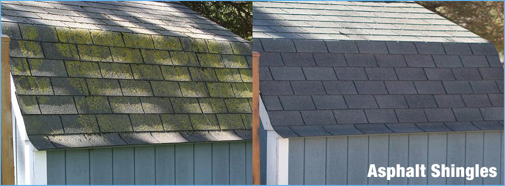 Asphalt Shingles Cleaned Up with rapid Application or Wet & Forget
