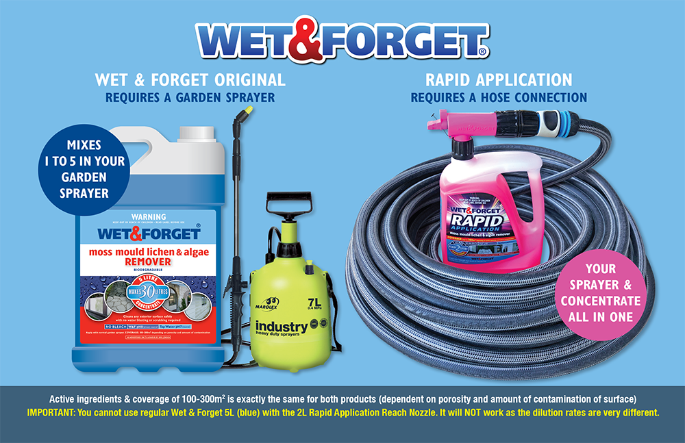 Choose between Rapid Application and Wet & Forget Mould Removers