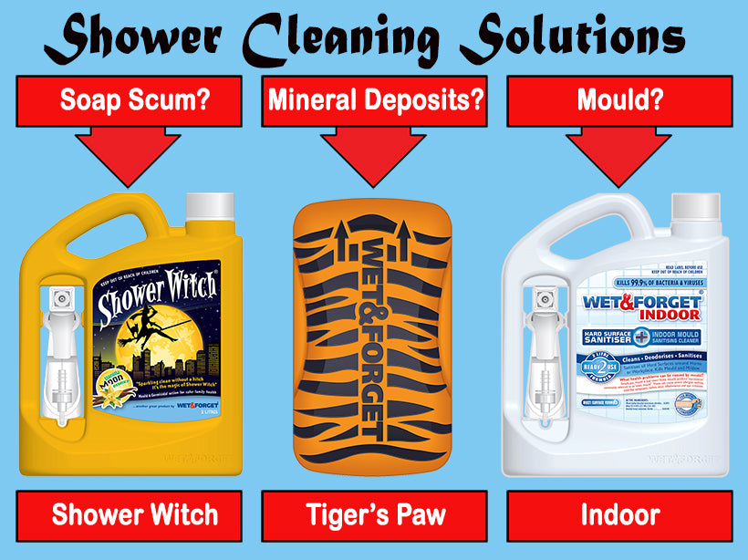 Wet & Forget have many shower cleaning products