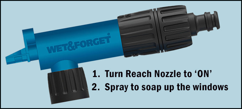 Use the Reach Nozzle to Soap up Dirty Windows