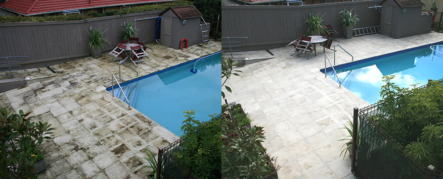 Swimming Pool Cleaned with Wet and Forget Moss Remover